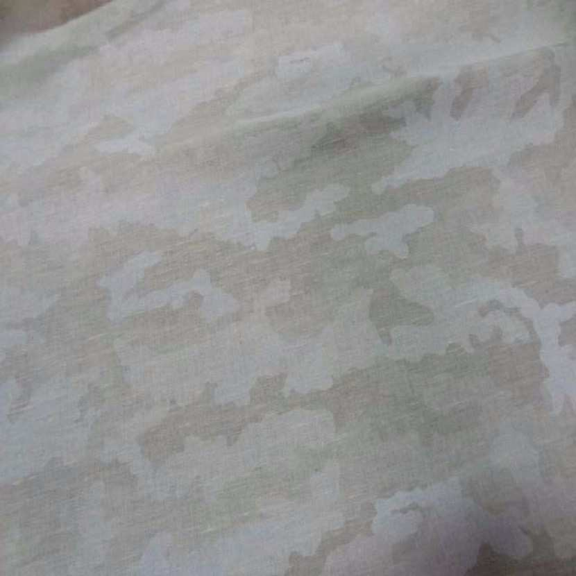 Lin imprime camouflage blanc casse beige