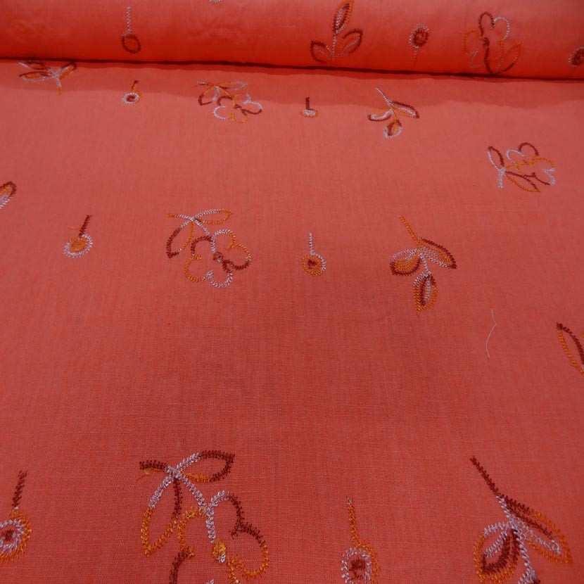 Lin orange brode motifs fleurs