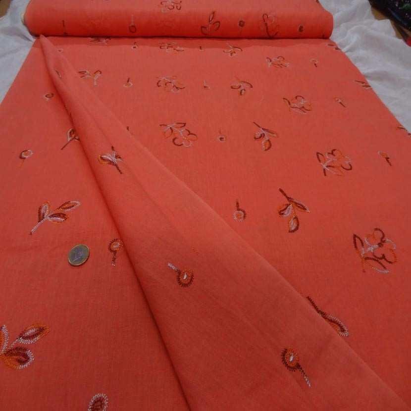Lin orange brode motifs fleurs1