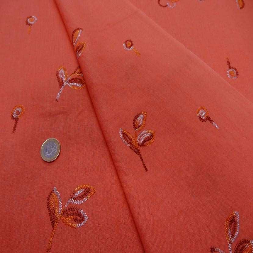 Lin orange brode motifs fleurs5