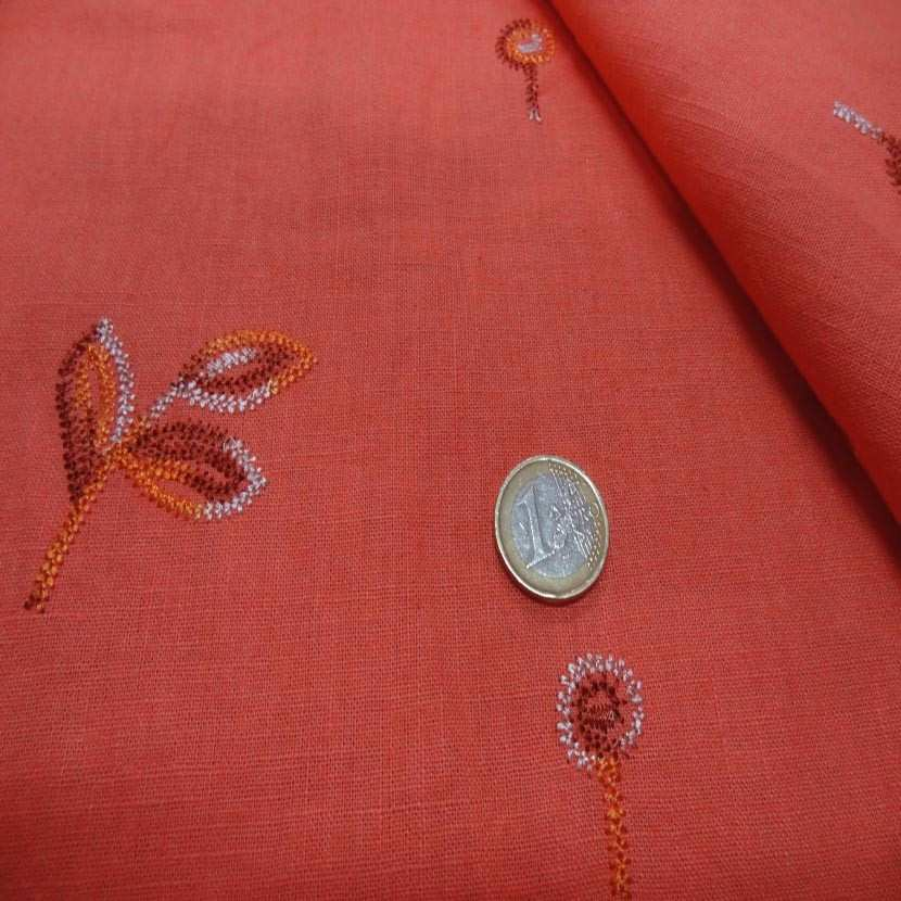Lin orange brode motifs fleurs7