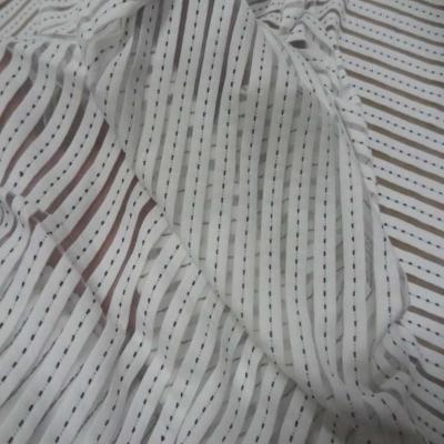 Lycra a bandes faconne blanc et transparent
