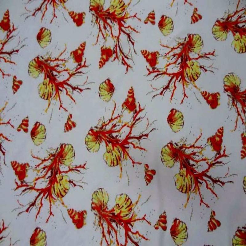 Lycra blanc imprime coquillage corail lurex dore2