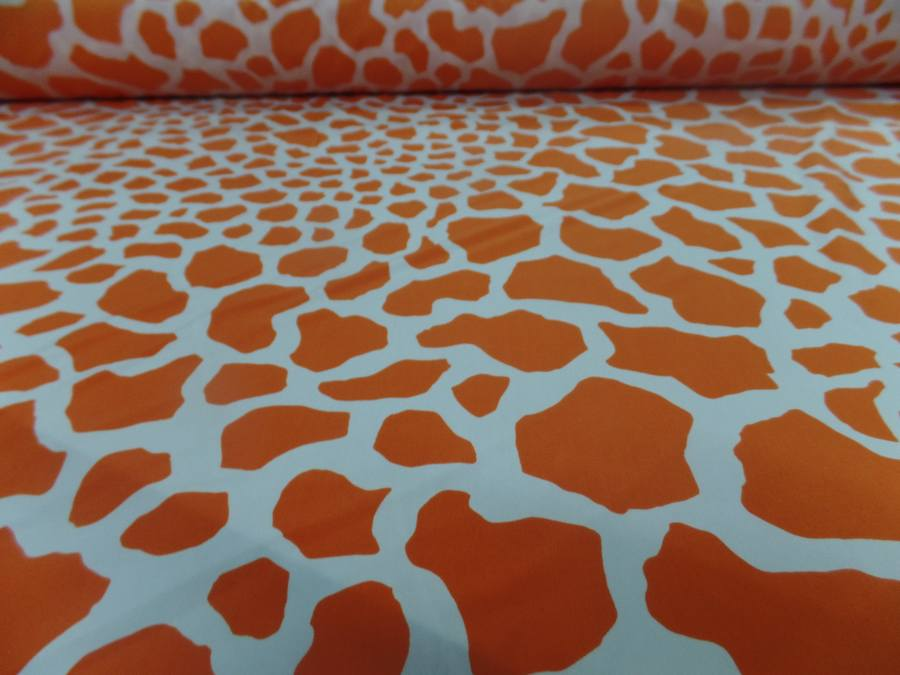 Lycra double face imprime girafe ton orange et blanc9