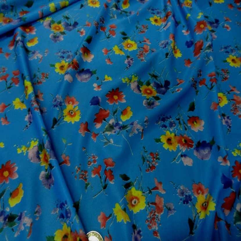 Lycra fin bleu imprime fleurs5