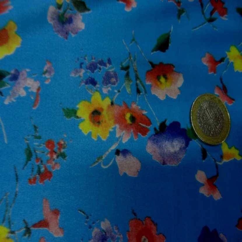 Lycra fin bleu imprime fleurs6