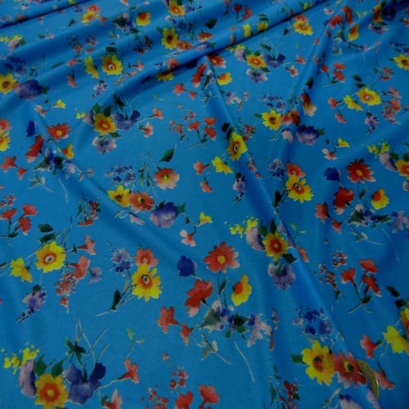 Lycra fin bleu imprime fleurs7