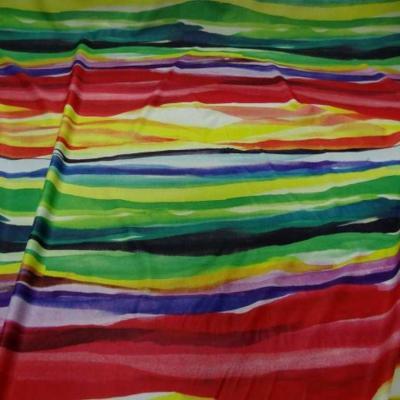 Lycra fin imprime bandes multicolore