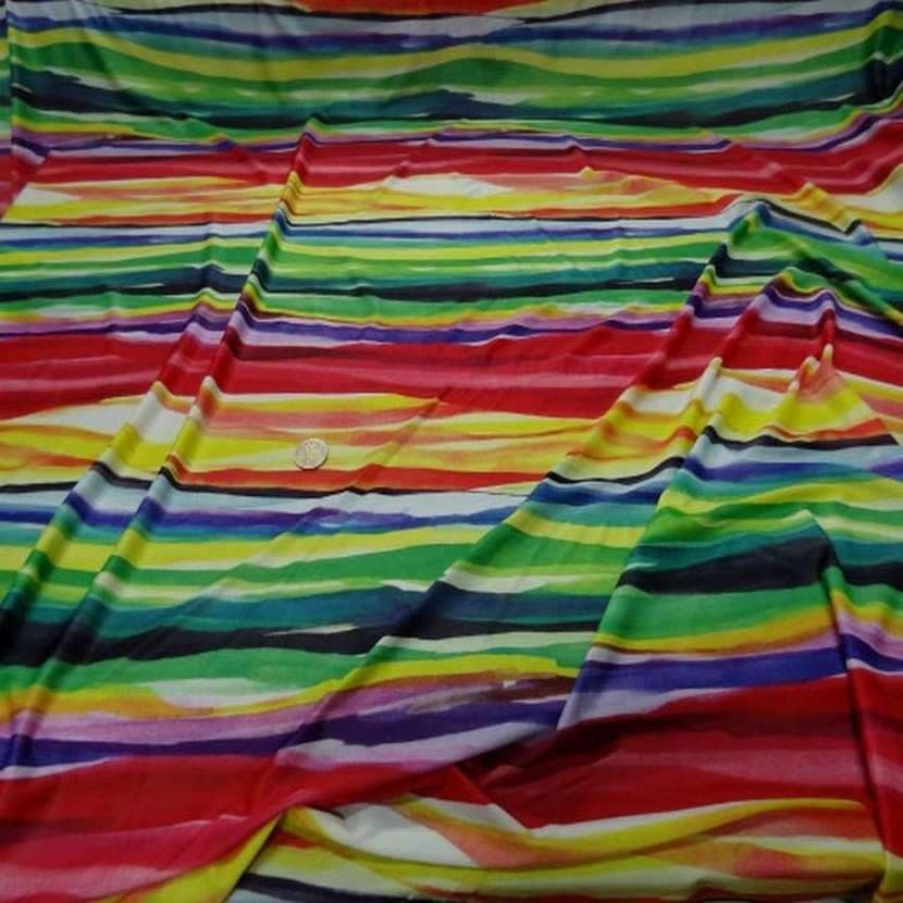 Lycra fin imprime bandes multicolore1
