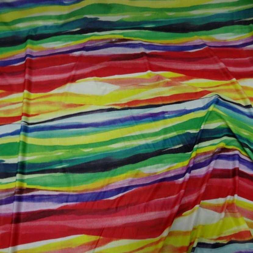 Lycra fin imprime bandes multicolore8