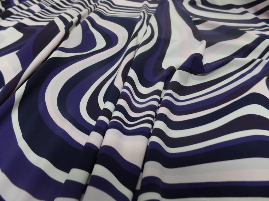 Tissu lycra imprimé année 70 ton blanc violet rose et noir