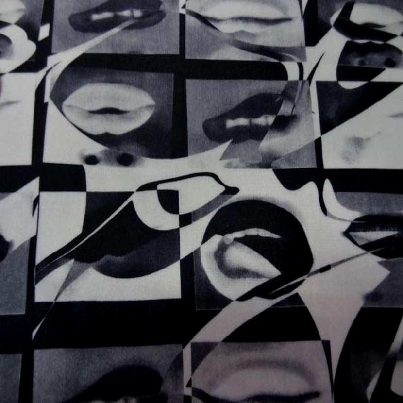Lycra imprime blanc gris et noir