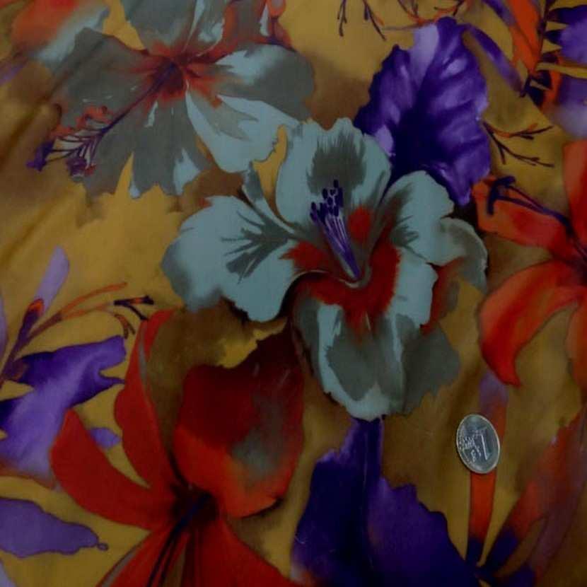 Lycra imprime fleurs safran prune09