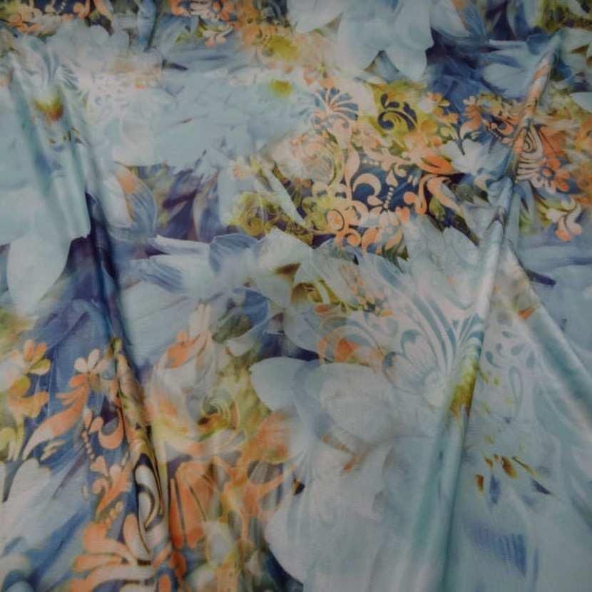 Lycra imprime fleurs ton bleu jaune safran1