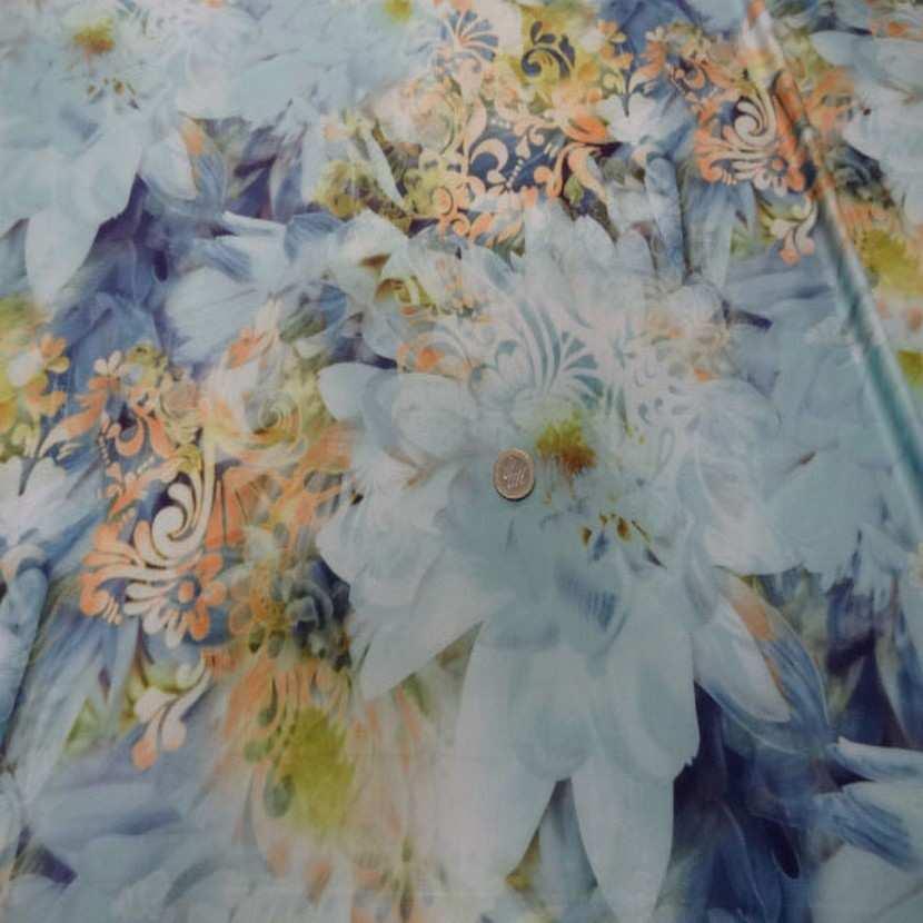 Lycra imprime fleurs ton bleu jaune safran3