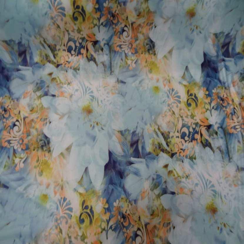 Lycra imprime fleurs ton bleu jaune safran7