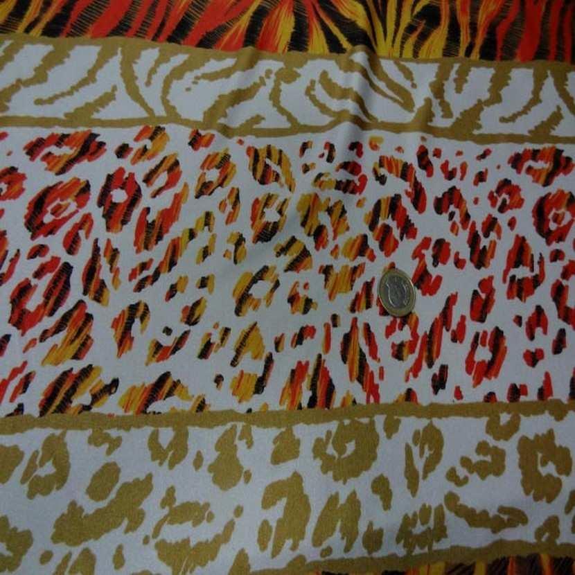 Lycra imprime fourrure blanc orange9