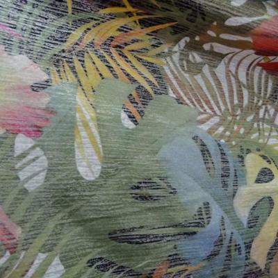 Lycra imprime motifs fleurs lurex metal