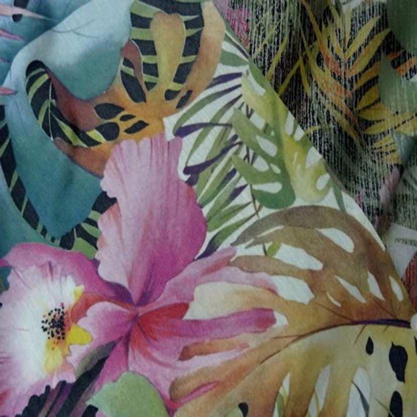 Lycra imprime motifs fleurs lurex metal05