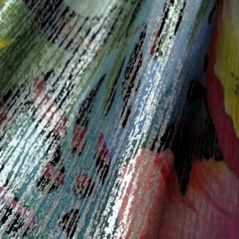 Lycra imprime motifs fleurs lurex metal2