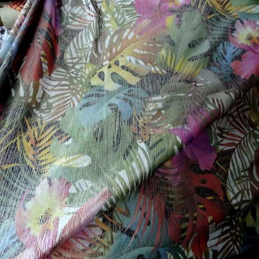 Lycra imprime motifs fleurs lurex metal5