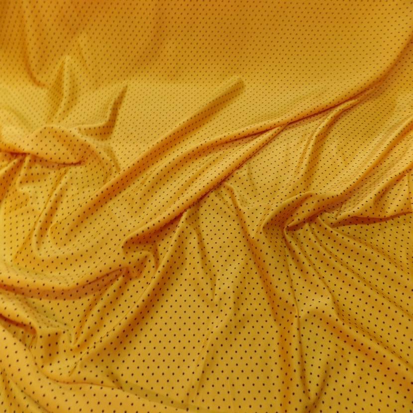 Lycra jaune soleil satine a petit pois noir