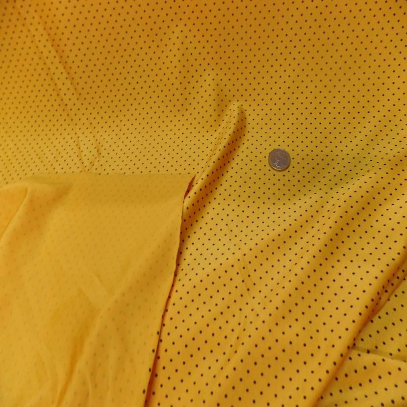 Lycra jaune soleil satine a petit pois noir9