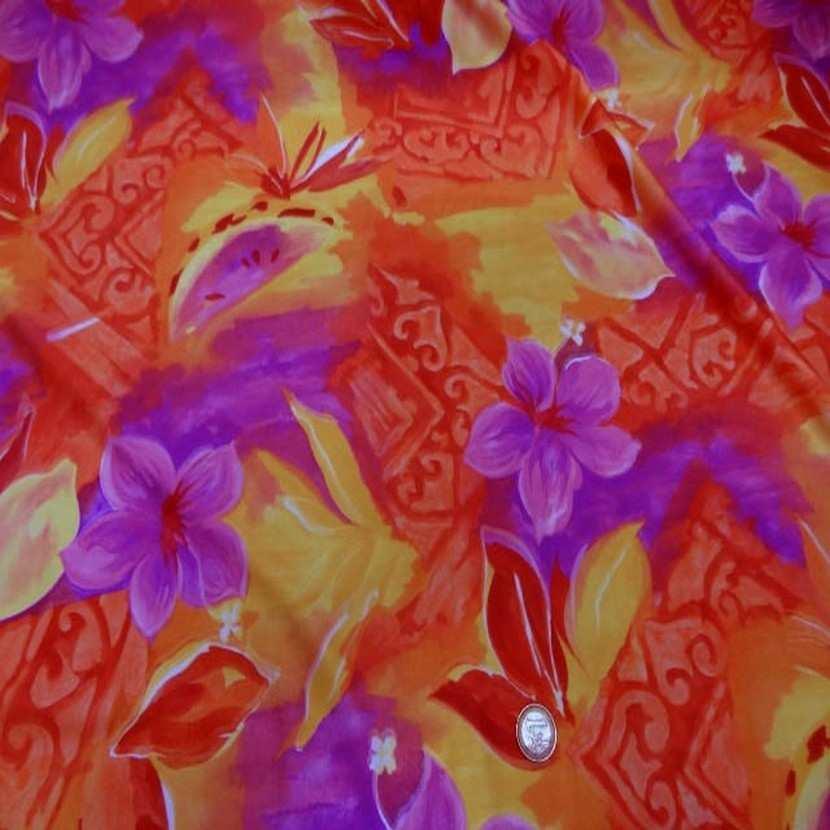 Lycra maillot de bain imprime ton orange jaune magenta4