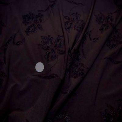 Lycra marron faconne fleurs