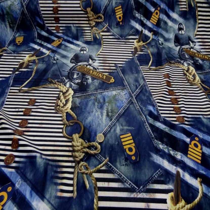 Lycra qualite qualite maillot de bain imprime bleu jean marine1