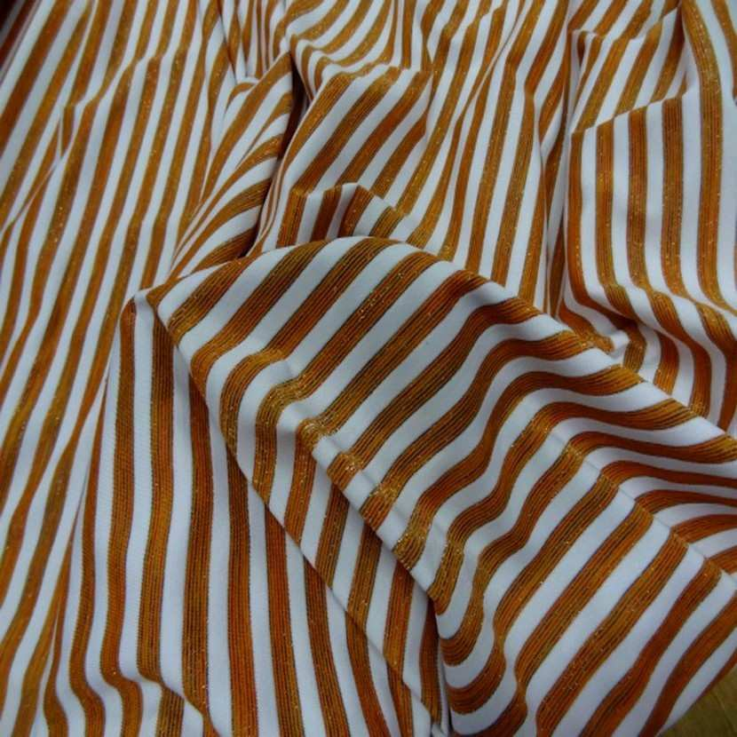 Lycra raye blanc orange lurex