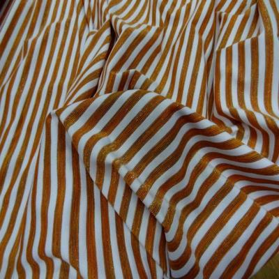Lycra raye blanc orange lurex