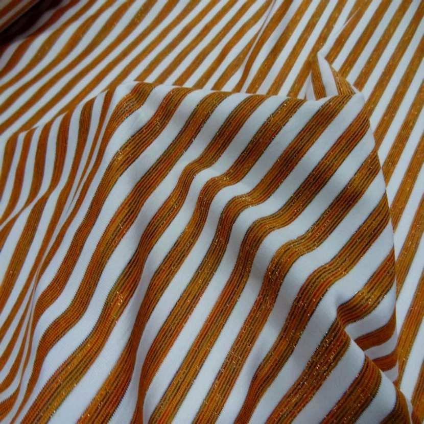 Lycra raye blanc orange lurex03