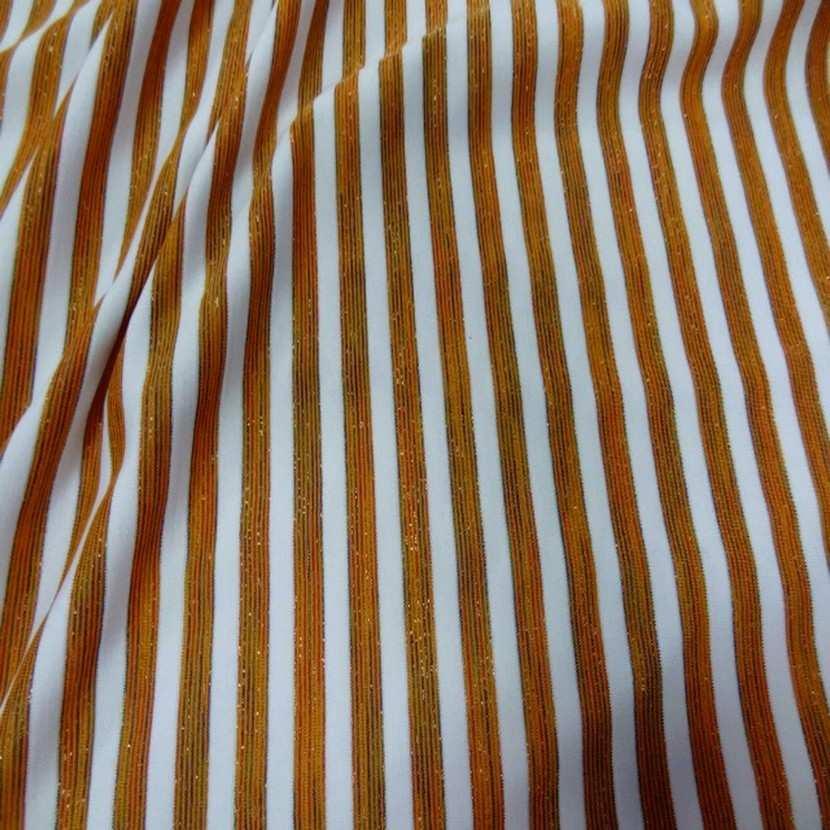 Lycra raye blanc orange lurex3