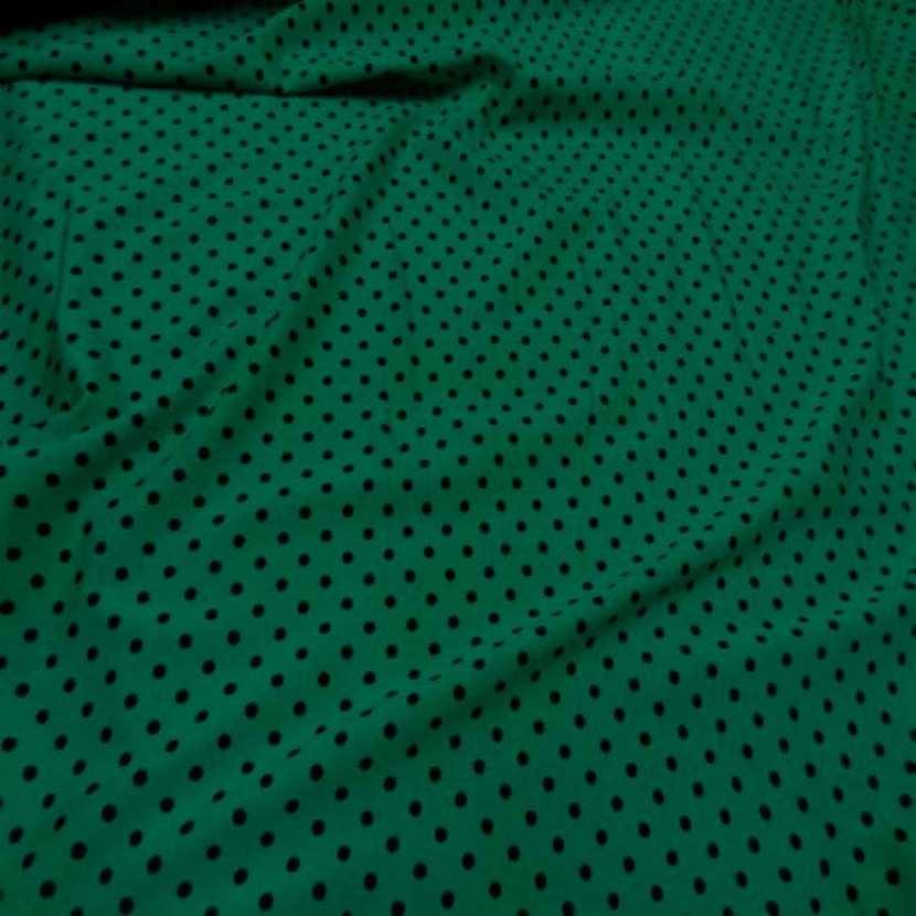 Lycra satin vert a pois noir4