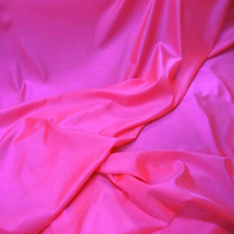 tissu lycra satine rose fluo