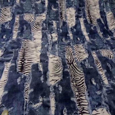 Lycra ton jean delave devore imprime zebre