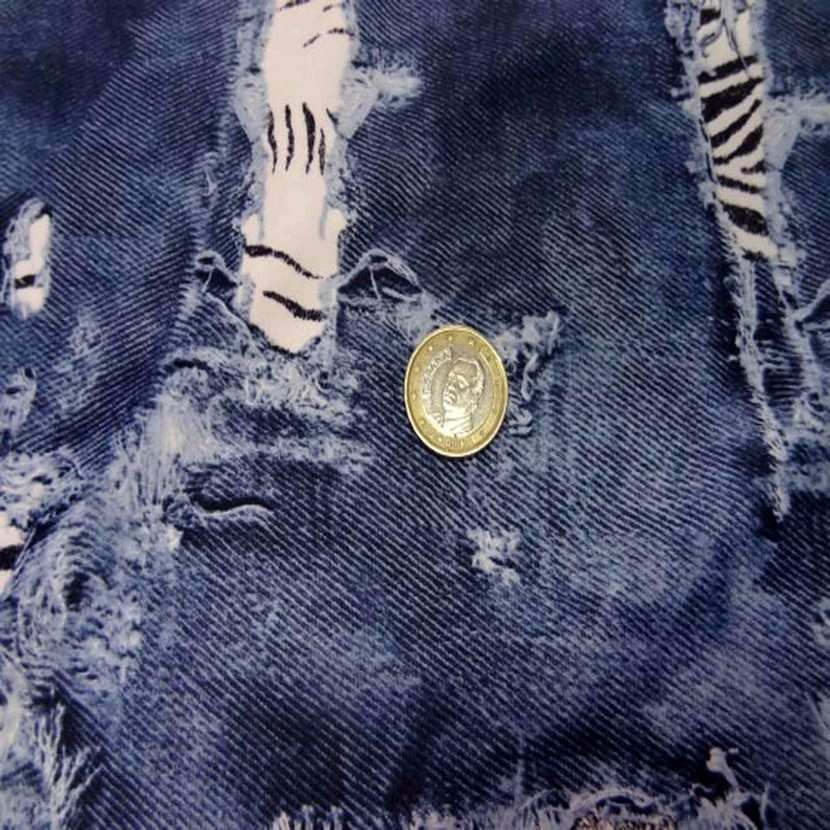 Lycra ton jean delave devore imprime zebre1
