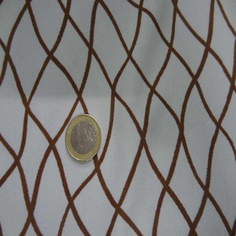 Lycra ton mastic imprime filet marron01