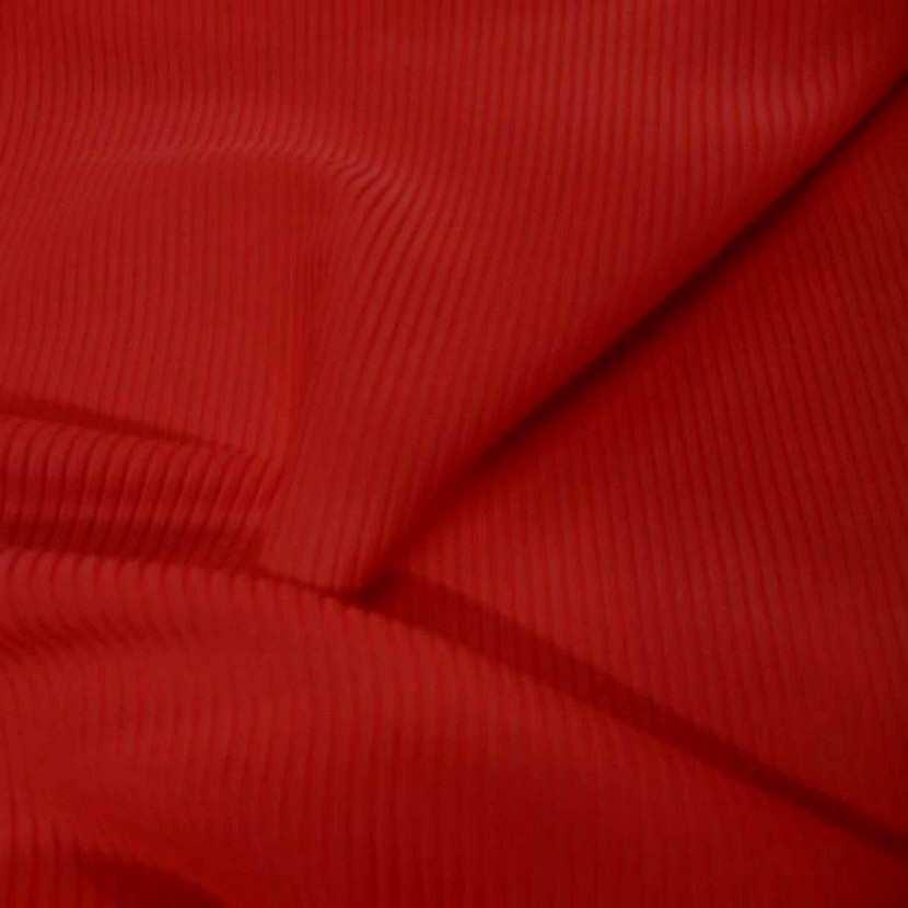 Lycra uni a cotes rouge vermillon
