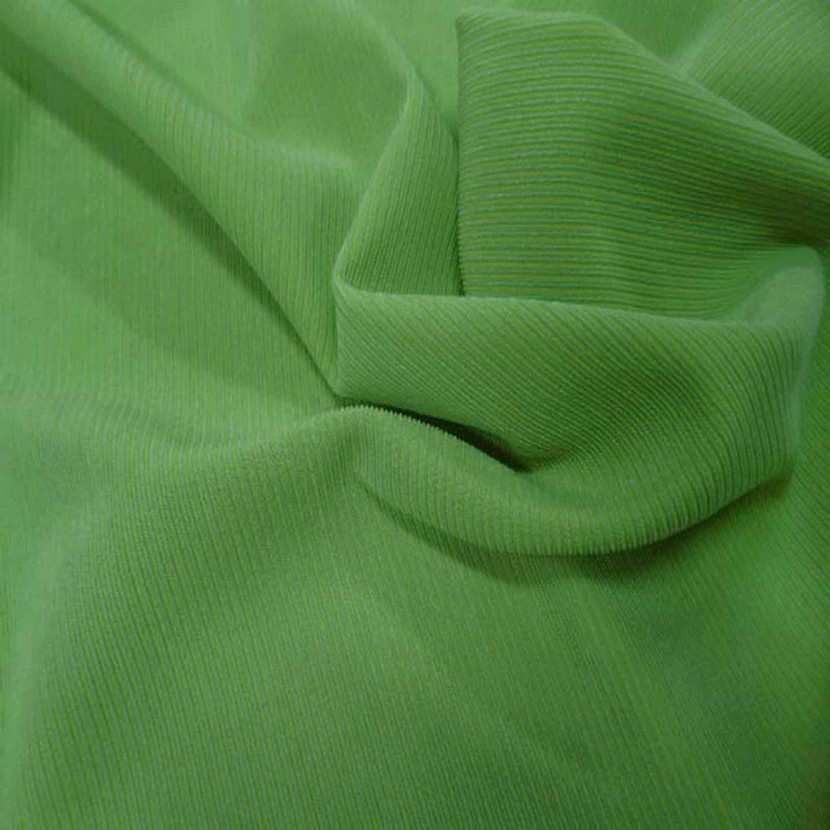 Lycra uni brillant a cotes vert clair