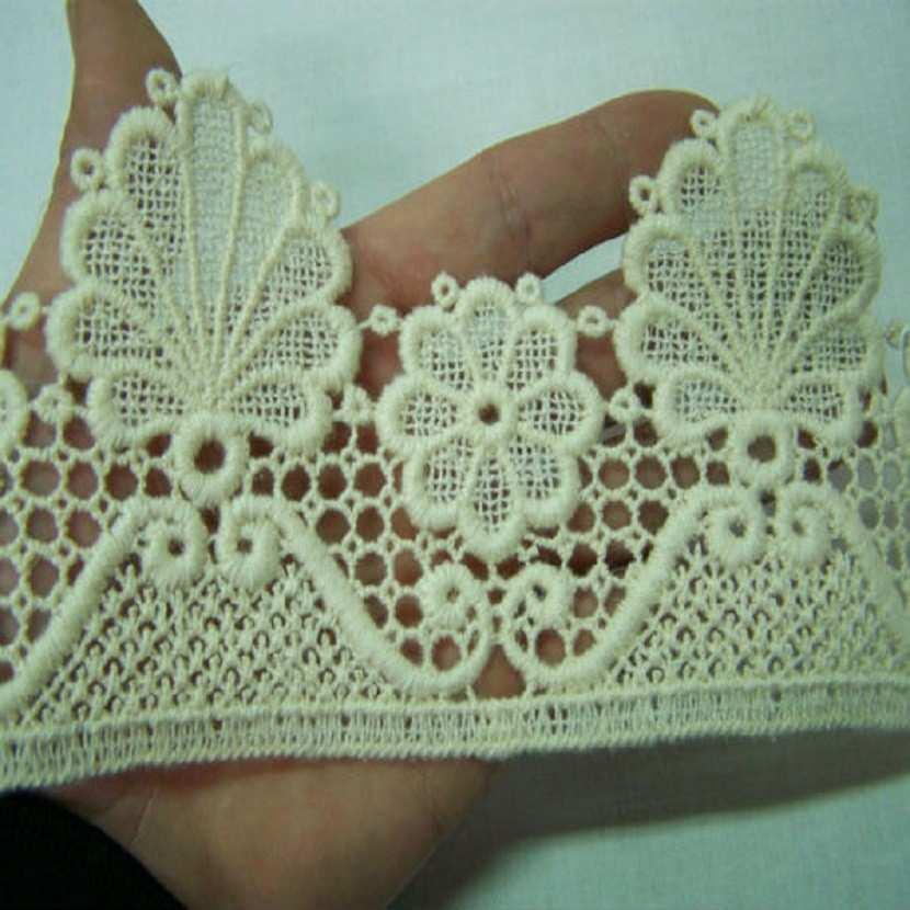 Macrame blanc casse aspect coton en 11cm de large