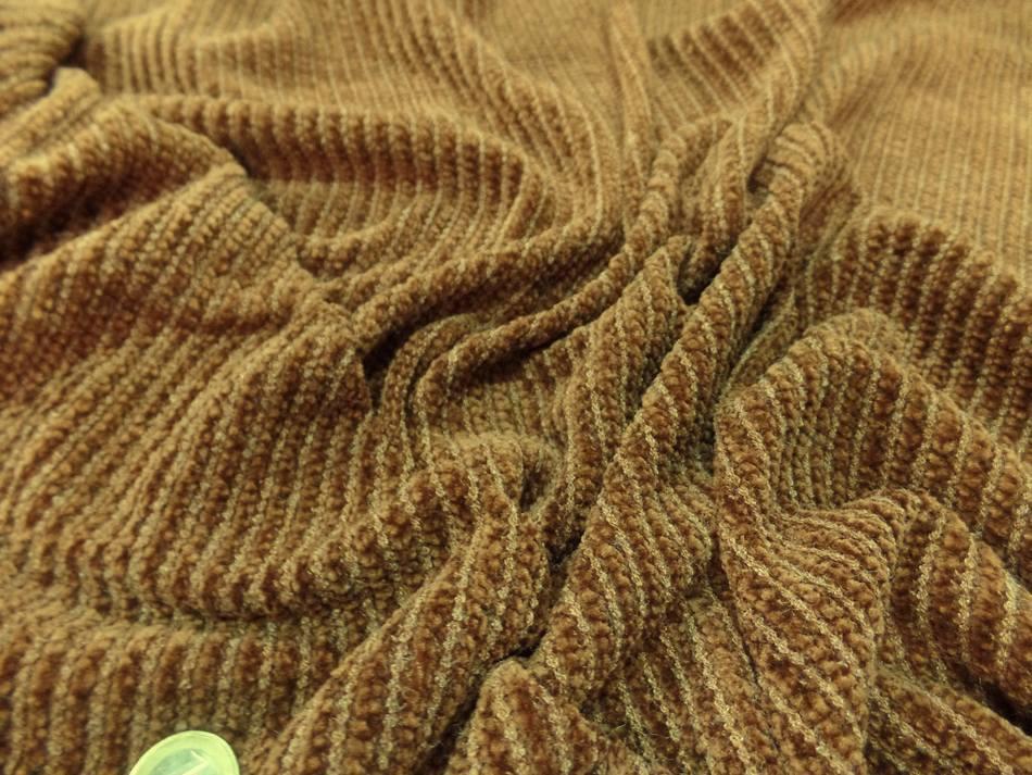 tissu maille aspect velours a cotes moutarde doré en 1.60m en ligne