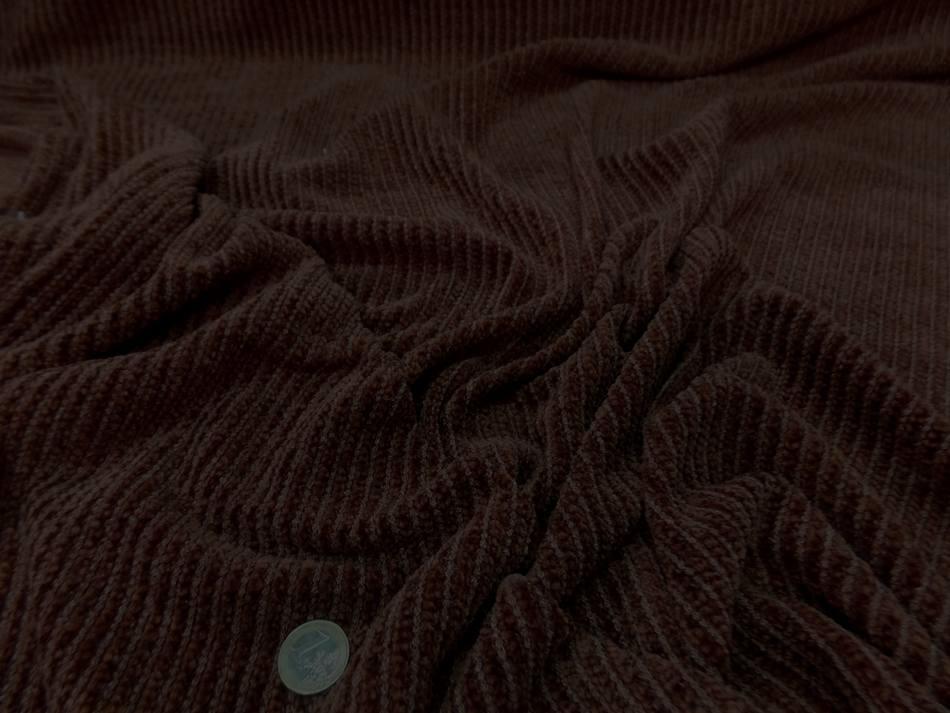 tissu Maille aspect velours a cotes ton marron en 1 60m de large