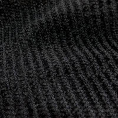 Maille aspect velours a cotes ton noir en 1 60m de large