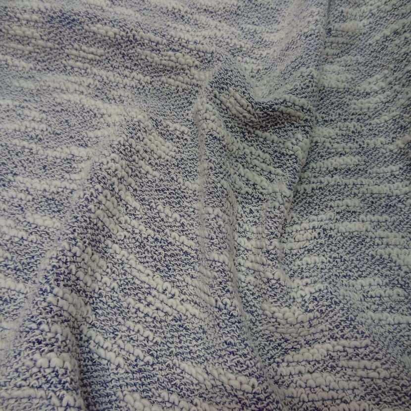 Maille coton blanc bleu