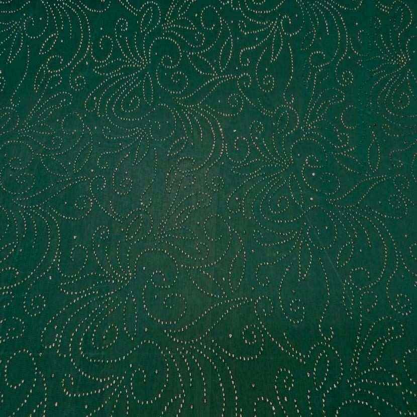 Maille jersey vert a motifs dore1