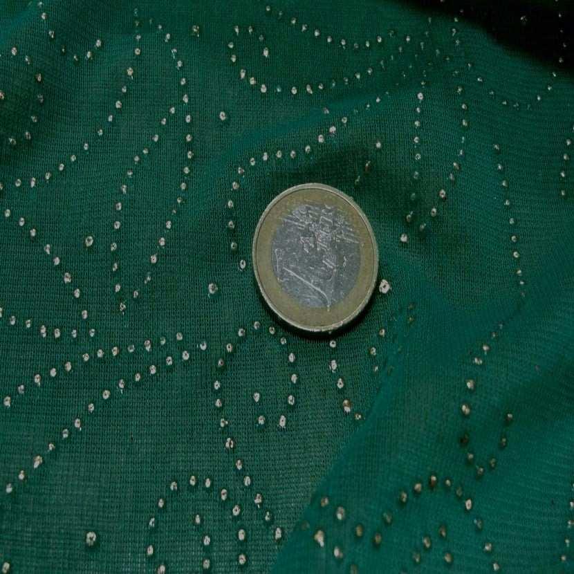 Maille jersey vert a motifs dore8
