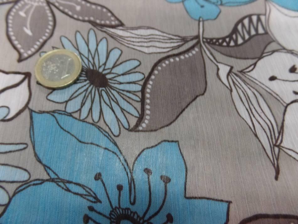 vente de mousseline crépon imprimé ton gris ,taupe ,blanc ,bleu