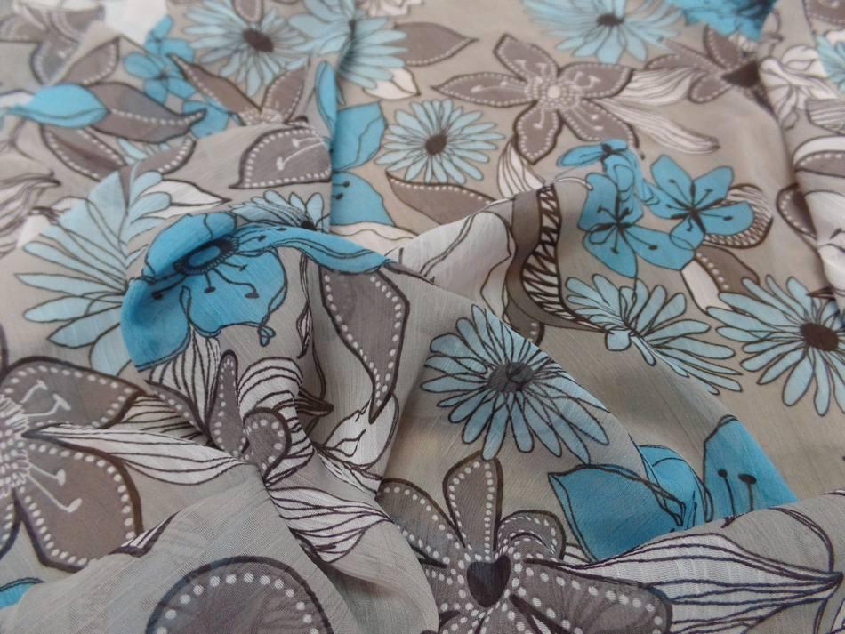 mousseline crépon imprimé ton gris ,taupe ,blanc ,bleu